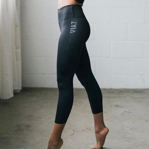 ZYIA Spell Out Black High Rise Cropped Legging